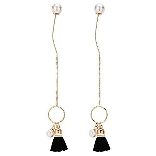 [Aooaz Women Silver Plated Earrings Threader Earrings Circle Tassel Pearl Gold Earrings Wedding] (Elephant Ears And Nose Costume)