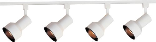 Maxim 92305WT Track 3-Light Track Kit Wall Sconce, White Finish, Glass, MB R30 Incandescent Incandescent Bulb , 20W Max., Dry Safety Rating, 2900K Color Temp, Standard Dimmable, Shade Material, 1125 (Incandescent Track Lighting)