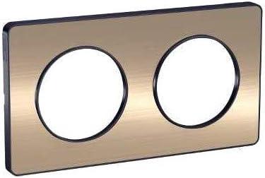 alu 2 postes 71 mm liser/é alu plaque schneider electric odace touch