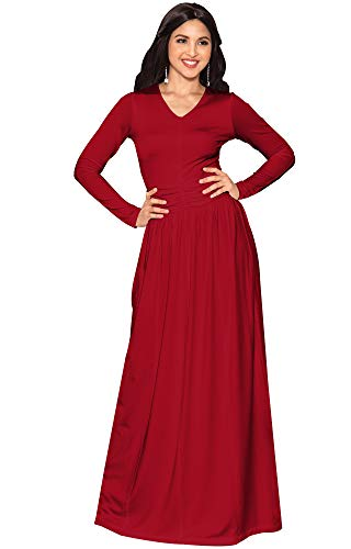 V Neck Waist Sleeve Maxi Long Ruched Dress Formal Empire Red Evening KOH Womens KOH wg8XII