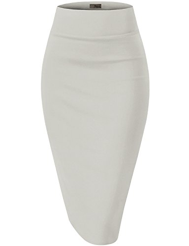 (Womens Premium Stretch Office Pencil Skirt KSK45002 Ivory 1X)