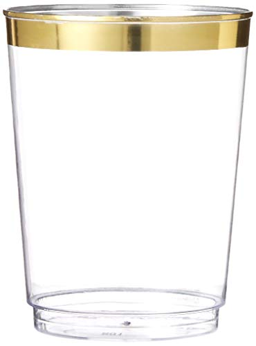 100 Gold Plastic Cups 10 oz Clear Plastic Cups Old Fashioned Tumblers Gold Rimmed Cups Fancy Disposable Wedding Cups Elegant Party Cups with Gold Rim by Oojami (Gold)