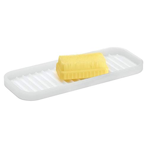 - mDesign Silicone Kitchen Sink Storage Organizer Holder Tray for Sponges, Soaps, Scrubbers - Ribbed Base, Quick Drying, Waterproof, Non-Slip Durable - Clear