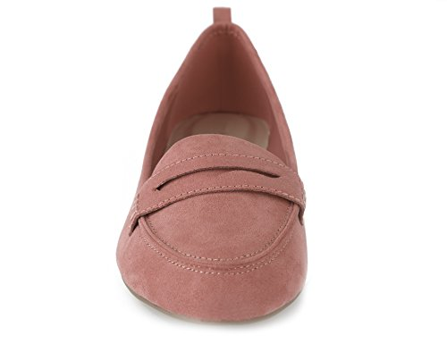Greatonu on Slip Faux Comfort Suede Flat Shoes Women's Coral Loafer Penny qXwqCTHrx
