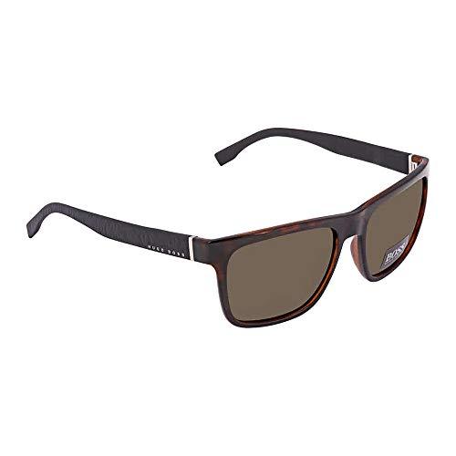 BOSS by Hugo Boss Men's B0918s Rectangular Sunglasses, Havana Black, 56 mm