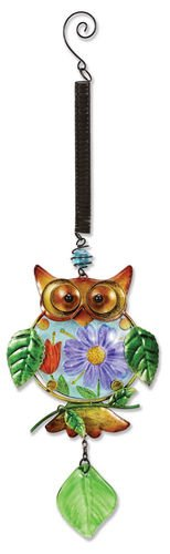 Sunset Vista Designs Metal and Glass Owl with Floral Belly Bouncy Hanging Decoration