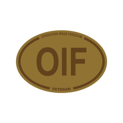 Tan Operation Iraqi Freedom Veteran OIF Oval Sticker - Die Cut - Decal - army usmc navy usaf Operation Iraqi Freedom Decals