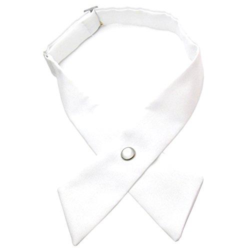 (Tie for Men Women Adjustable Criss-Cross Bowtie School Uniform Pre Tied Bows for Girls Neck Tie Accessories PTK03 (White))