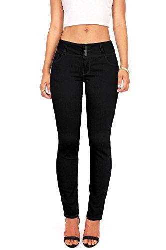 Wax Women's Juniors Body Flattering Mid Rise Skinny Jeans (11, Black)