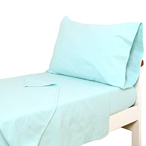 TILLYOU 3-Piece Cotton Flannel Toddler Sheet Set (Fitted Sheet, Top Flat Sheet and Envelope Pillowcase) - Warm Soft Plush Crib Sheets Set Toddler Bed Set - Baby Sheet & Pillowcase Sets - Aqua ()