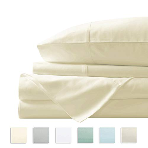"Pizuna 400 Thread Count Cotton Sheets Queen Size Cream, 100% Long Staple Cotton 4 PC Sheet Set, Sateen Cotton Bedding Set fit Upto 17"" Deep Pockets (Ivory Queen 100 Percent Cotton Sheets)"