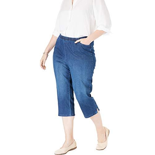 Woman Within Women's Plus Size Petite Capri Fineline Jean - Stonewash Sanded, 16 WP