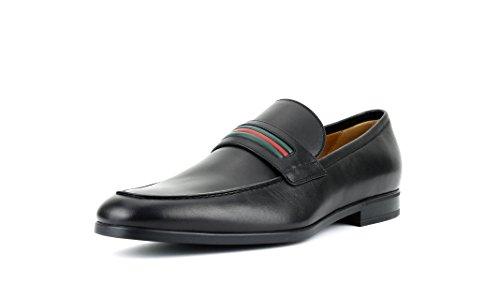 Gucci Men's Web Detail Calf Leather Slip-On Loafer, Black (Nero) 337055 (11.5 US/10.5 - Gucci Male
