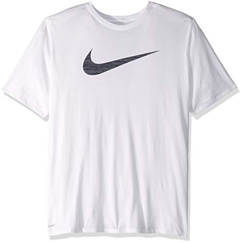 (NIKE Men's Dri-Fit Swoosh Tee, White/White, Small)