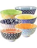 Annovero Cereal Bowls Set - Large Porcelain Soup, Rice, or Pasta Bowls; Microwave, Dishwasher & Oven Safe, Set of 6 Colorful Designs, 25 Fluid Ounce Capacity