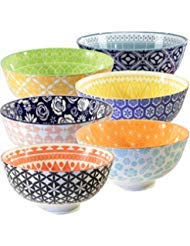 Annovero Cereal Bowls Set - Large Porcelain Soup, Rice, or Pasta Bowls; Microwave, Dishwasher & Oven Safe, Set of 6 Colorful Designs, 25 Fluid Ounce ()