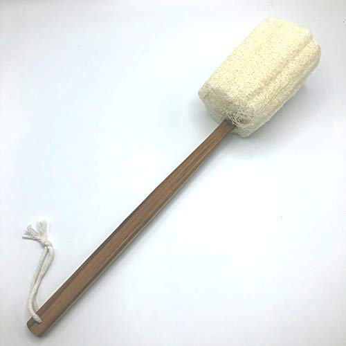 """Eco Creation Deluxe 17.5"""" Teak Wood Handle Natural Loofah Back Scrubber, Bath Sponge, Shower Pouf. Large Quality Gourd Luffa with Sturdy 17.5 Inch Teak Wood Handle (Set of 2). by Eco Creation (Image #4)"""