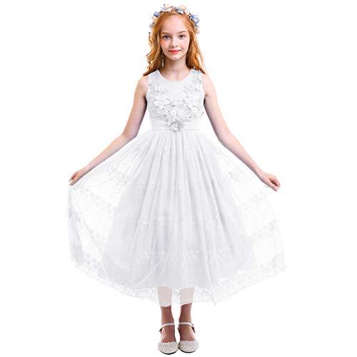 OBEEII Little Big Girl Flower Applique Lace Tutu Dress Princess Pageant Wedding Junior Bridesmaid First Communion Floor Length Maxi Ball Gown 5-16 Years 170]()