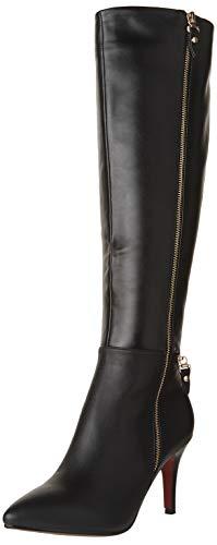 Nine Seven Leather Women's Pointed Toe Stiletto Heel Zipper Handmade Knee High Boot (8.5, Black)