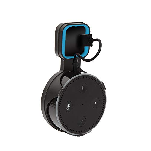 Doublewin Echo Dot Wall Mount Outlet Holder Stand for Alexa Dot 2nd Generation Space Saving Hanger for Home Smart Speaker Short Charging Cable Included Black