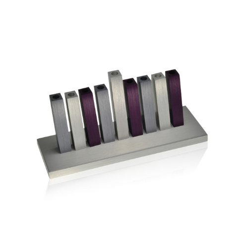 Purple, Gray and Silver Kinetic Hanukkah Menorah by Adi Sidler by World Of Judaica