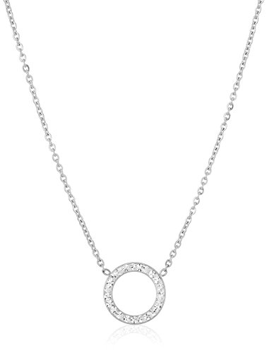 White Crystal Circle Necklace - ELYA Jewelry Womens Stainless Steel Crystal Open Circle Pendant Necklace, White, One Size