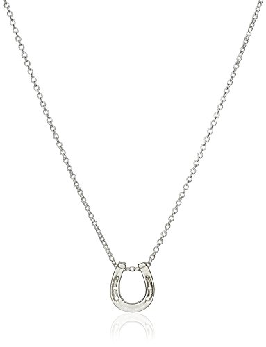 (DIANE LO'REN 18kt White Gold Plated Inspirational Card Pendant Necklace Charms (Lucky Horseshoe))