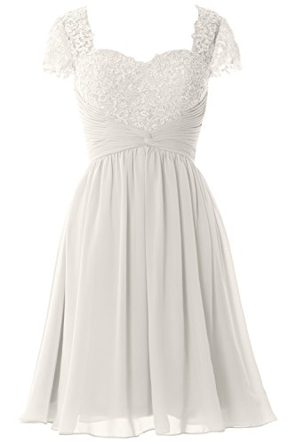 of Short Bride Dress Gown Women Party Formal Lace Sleeve Elfenbein MACloth Cap Mother Ywqvwz