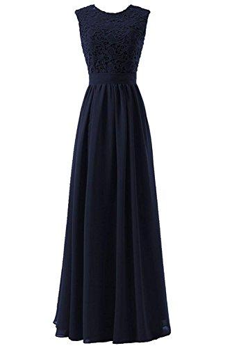 Blau Chiffon Cocktailkleid Spitzenkleid Langes Damen Ärmellos Erosebridal Brautjungfer Navy Hochzeit Faltenrock Kleid P161Bq
