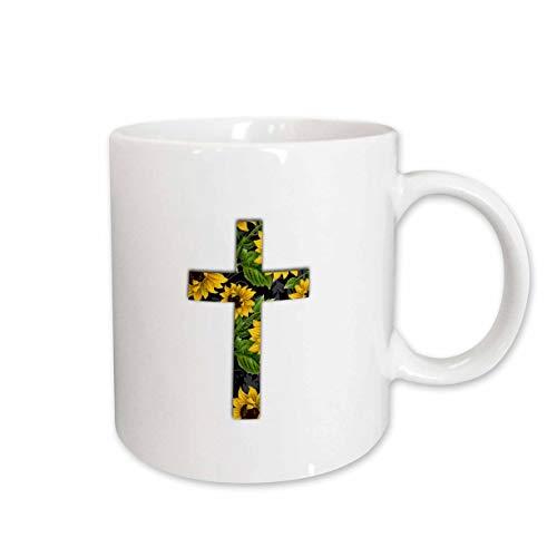 Pattern Cross Yellow (3dRose InspirationzStore Christian Designs - Sunflower pattern Christian Cross - black and yellow floral crucifix - 11oz Mug (mug_185475_1))