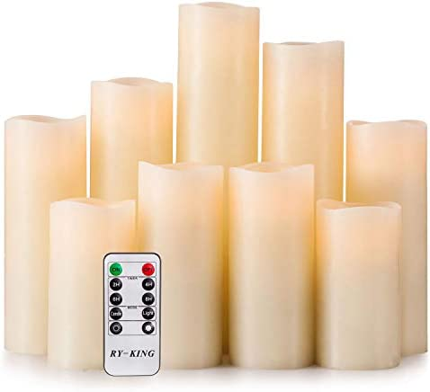 RY King Battery Operated Flameless Candles 4 5 6 7 8 9 Set of 9 Real Wax Pillar LED Flickering Candles with Remote Control and Timer