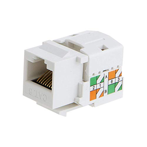(CableCreation 5-Pack Cat6 / RJ45 Keystone Module Connector, White)