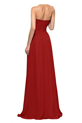 Toscana queridacámara totalmente por la noche en forma de corazón de la perla de la novia vestidos de dama de honor de la bola a la gasa largo vestidos de fiesta Rojo