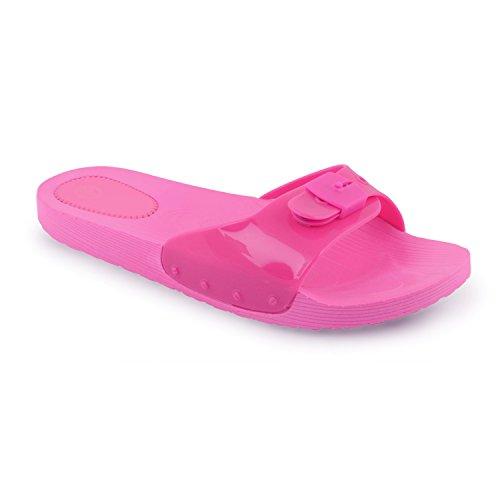 Footwear Sensation - Sandalias Jelly con puntera abierta mujer Negro - fucsia