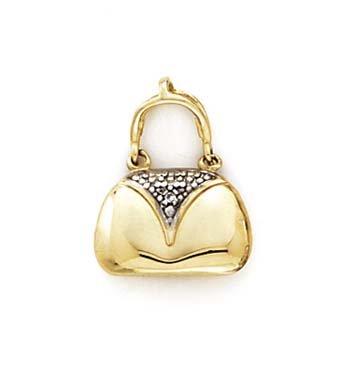 14k Yellow Gold Diamond Yellow Handbag Pendant