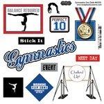 Gymnastics Scrapbook Stickers - Scrapbook Customs - Sports Pride Collection - Doo Dads - Self Adhesive Metal Badges - Gymnastics