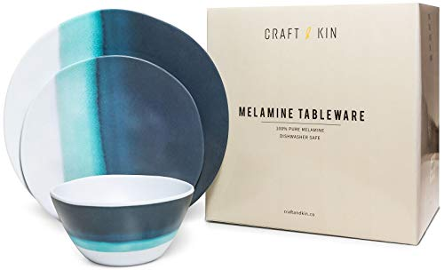 Melamine Dinnerware Set - Melamine Plates 12 Pcs Outdoor Plates Summer Plates and Bowls Sets Dinnerware Melamine Plates Ideal Camping Dish Set Dinnerware Set for 4 Dishwasher Safe (Blue Ocean)