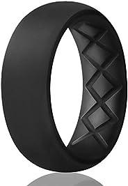 Egnaro Inner Arc Ergonomic Design, Breathable Silicone Rings Mens, 7 Rings / 4 Rings / 1 Ring Silicone Wedding