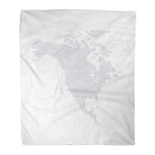 Golee Throw Blanket Gray Dot North America Map Hexagon Globe Digital Tech White 50x60 Inches Warm Fuzzy Soft Blanket for Bed Sofa ()