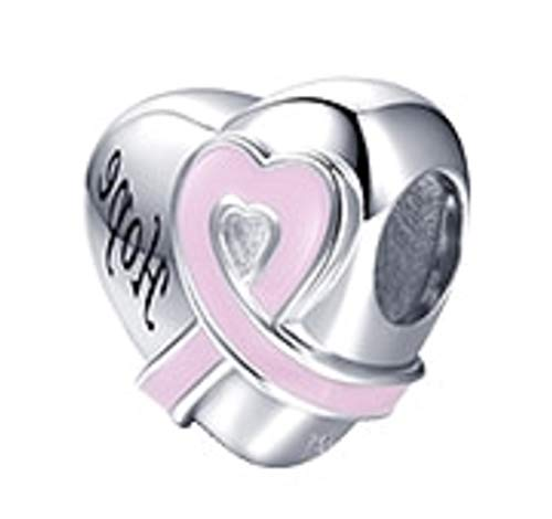 EVESCITY Swarovski Crystal Heart Charms Sterling Silver Beads for Charm Bracelets ♥ Best Jewelry Gifts for Her Women ♥ (Hope Heart Pink Ribbon - Breast Cancer Awareness Survivor)