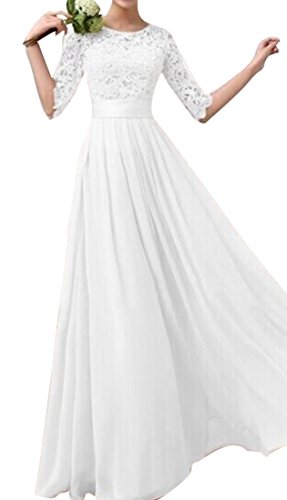 XQS Womens Lace Floral 3/4 Sleeve Swing Party Wedding Cocktail Long Dress White US XL Modest Lace