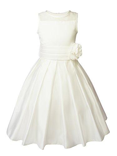 Spring Notion Big Girls Sheer Neckline Satin Tea Length Flower Girl Dress Ivory Size 10
