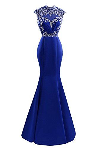 SDRESS Women's Beaded Sequines Cap Sleeve High Neck Long Mermaid Formal Evening Dress Royal Blue Size 8