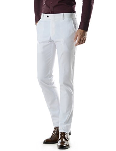 Thelees (TLKP267) Essential Slim Straight Fit Classy Soft Business Dress Pants WHITE 31W/34L(Tag size (Classy Outfits For Men)