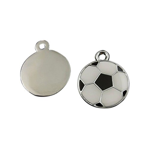 Julie Wang 20pcs Enamel Soccer Football Charms Silver Black White for Women Jewelry Necklace Making Pendants (Necklace Football Charm)