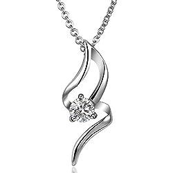 ANAZOZ Women's Stainless Steel Jewelry Pendant Necklace Hollow White CZ