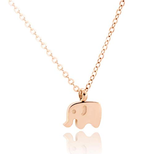 WDSHOW Elephant Necklaces Rose Gold Plated Stainless Steel ()