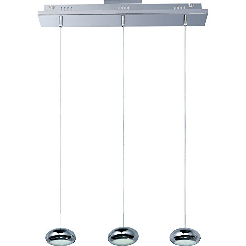ET2 E22253-PC Dial 3-Light LED Linear Linear Pendant, Polished Chrome Finish, Glass, LED Bulb, 35W Max., Dry Safety Rated, 2900K Color Temp., Standard Dimmable, Natural Fiber Shade Material, 800 Rated Lumens