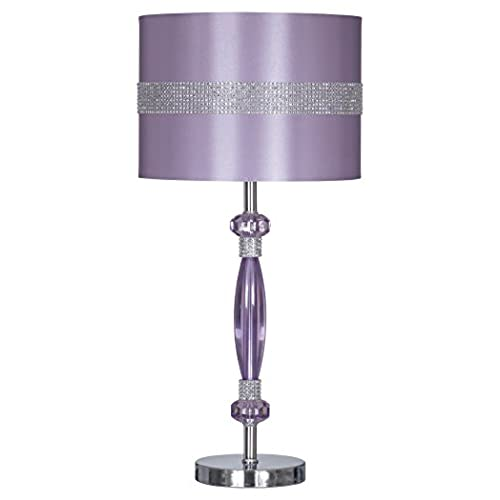 Ashley Furniture Signature Design   Nyssa Table Lamp With Drum Shade    Purple And Silver Finish