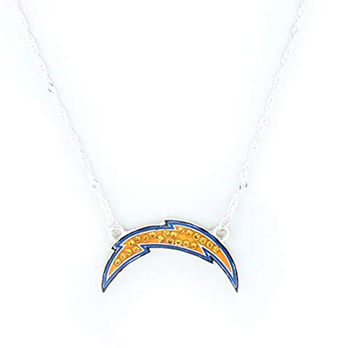 Drop of Silver NFL Football San Diego Chargers Crystal Logo Necklace in Yellow and Blue